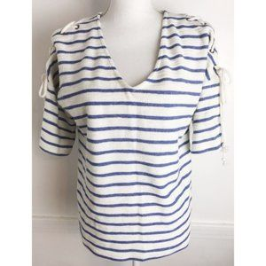 Jane and Delancey • Blue White Striped Top